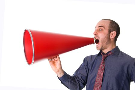 business man holding a red megaphone on emotions Stock Photo - 2752721