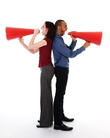 two business people on isolated white with red megaphones Stock Photo - 2752701