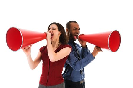 two business people on isolated white with red megaphones Stock Photo - 2752705
