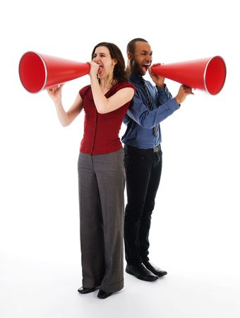 two business people on isolated white with red megaphones Stock Photo - 2752706