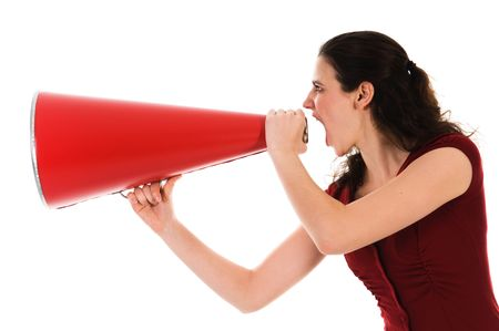 business woman with a red megaphone on white Stock Photo - 2752702