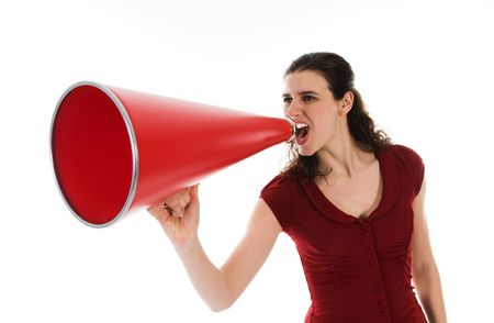 business woman with a red megaphone on white Stock Photo - 2752703