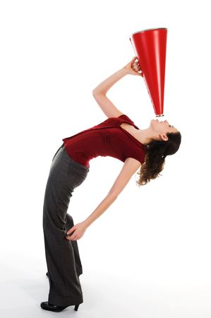 business woman with a red megaphone on white photo