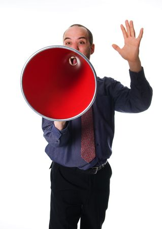 business man holding a red megaphone on emotions Stock Photo - 2752691