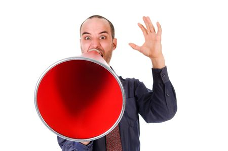 business man holding a red megaphone on emotions Stock Photo - 2752699