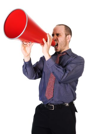 business man holding a red megaphone on emotions Stock Photo - 2752720