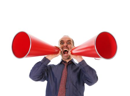 business man holding a red megaphone on emotions photo
