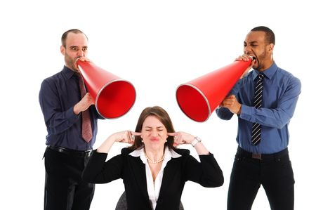 business people with megaphone harrassing colleague
