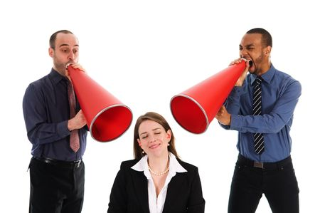 business people with megaphone harrassing colleague photo