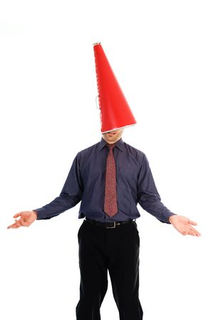 businessman with a red cone megaphone on head photo