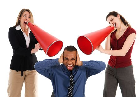 business people with megaphone harrassing colleague Stock Photo - 2752716