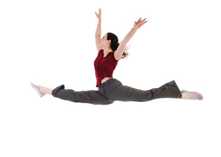 young attractive female dancer doing the splits