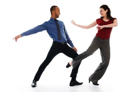 young multi ethnic couple beautiful dancing on white