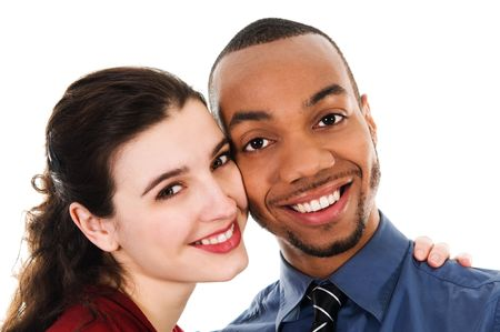 cute young multi ethnic couple in love on white