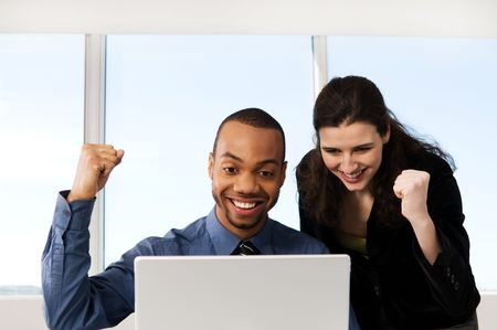 male and female business partners in a window office Stock Photo - 2778443