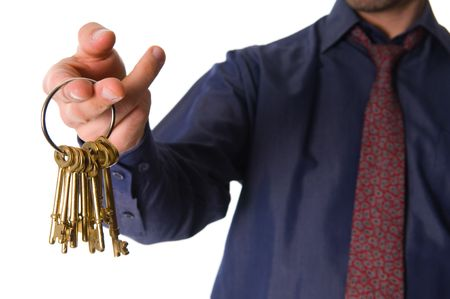 real estate agent with golden keys for client photo
