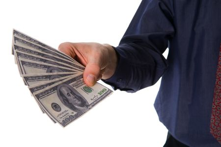 business man with some money on white Stock Photo - 2784429