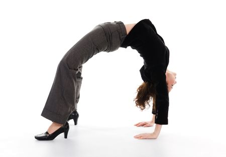 business woman arching her back on white