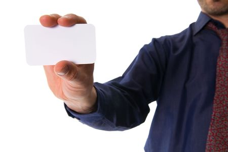 business man on white giving a business card Stock Photo - 2784412