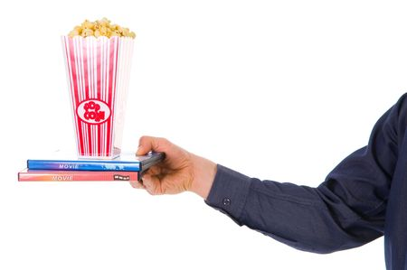 passtime: man giving some popcorn at a movie