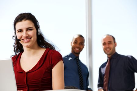 business team with a woman in the foreground Stock Photo - 2831299