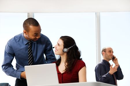 business team with a woman in the foreground Stock Photo - 2831302