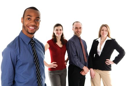 multi racial group: business people on an isolated white background