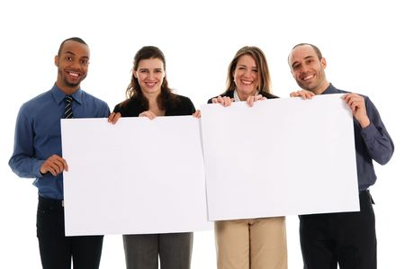 business people holding a white piece of cardboard Stock Photo - 2876247
