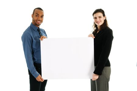 business people holding a white piece of cardboard photo