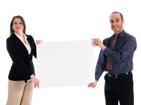 business people holding a white piece of cardboard Stock Photo - 2876242