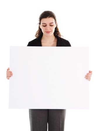 business person holding a white piece of cardboard photo
