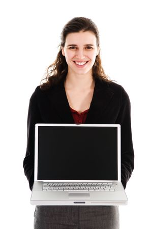 business person holding a laptop on white photo
