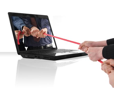 a black laptop computer with a tug of war photo