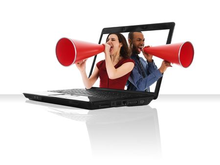 a black laptop computer with a red megaphone photo