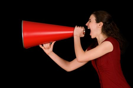 business woman with a red megaphone on black