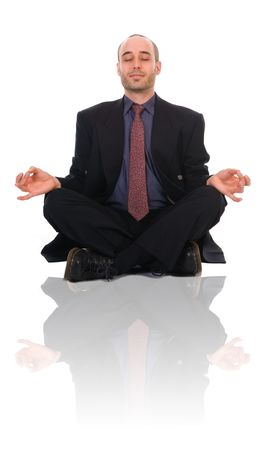 business man in a meditation position on white Stock Photo - 2946963