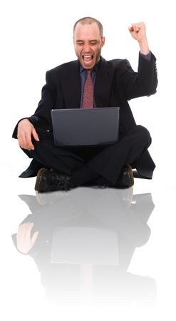 happy business man on a laptop on white photo