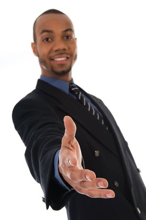 business man giving a hand shake on white photo