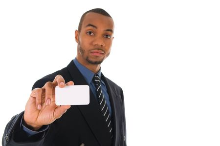 business man giving a blank card on white photo