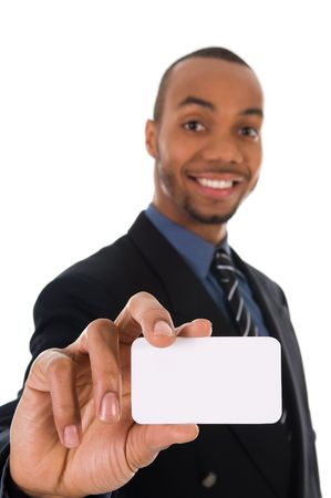 room card: business man giving a blank card on white