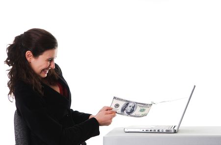 web scam: business woman holding on to her money for phishing Stock Photo