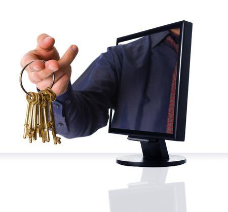 agente: un computer a schermo piatto monitor con chiavi d'oro