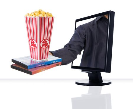 a computer flat screen monitor selling movies