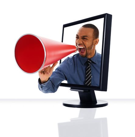 a computer flat screen monitor with a megaphone Stock Photo - 2977227