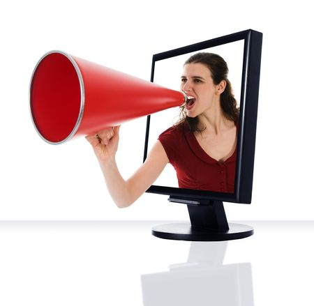 woman screaming: a computer flat screen monitor with megaphone