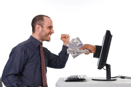 Internet Banking with a business man in the office Stock Photo - 3017582