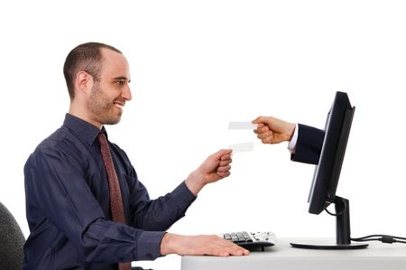 business men exchanging blank cards on the internet Stock Photo - 3017573