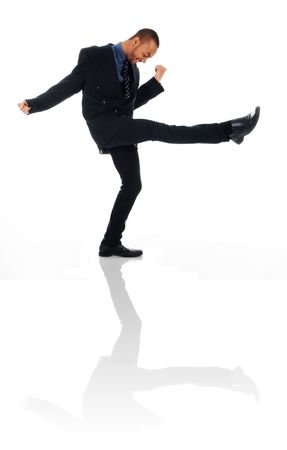 dancing happy winner business man on white Stock Photo - 3017540