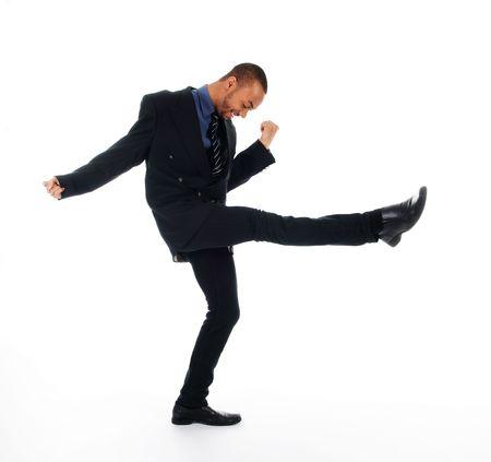 dancing happy winner business man on white Stock Photo - 3017539