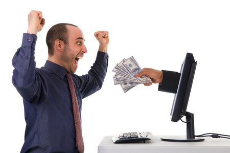 internet banking with a business man happy Stock Photo - 3017557